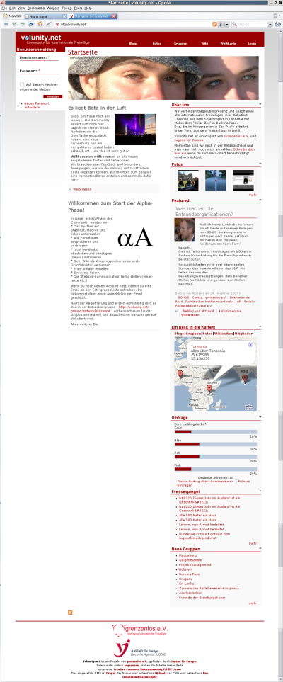 Volunity frontpage screenshot