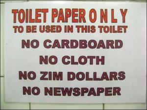 Toilettenpapier Schild in Simbabwe